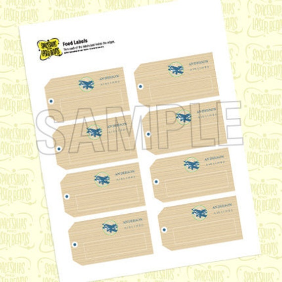 Printable Vintage Airplane Party Collection Diy By: Items Similar To Custom Food Label Tags (blank) From The
