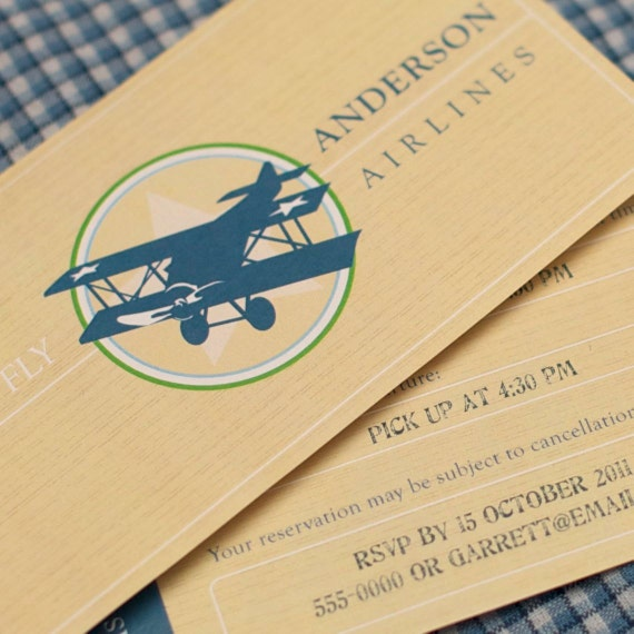 Printable Vintage Airplane Party Collection Diy By: Items Similar To Custom Invitation From The Vintage