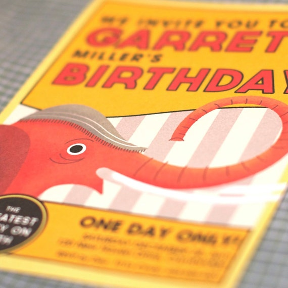 Custom Invitation (Elephant) from the Classic Circus Vintage DIY Printable Collection by Spaceships and Laser Beams