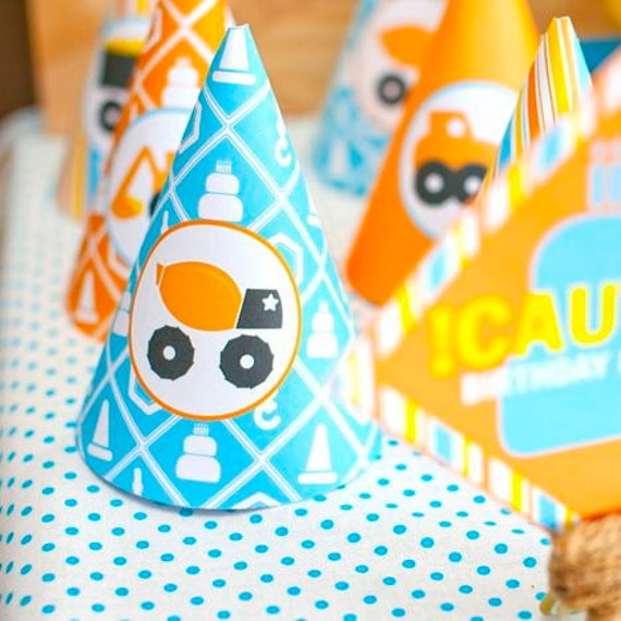 Truck Party Construction Birthday Children's Party Hats from the Construction Crew DIY Printable Collection by Spaceships and Laser Beams