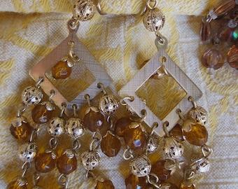 5 pr Amber & Crystal Clip On Earrings Rhinestones