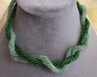 2 Antique Green Bead Choker Necklaces 1920