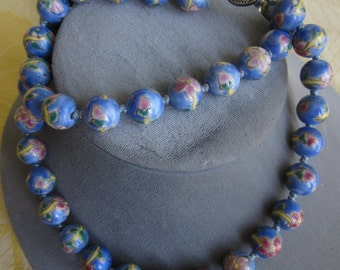 Chinese Blue Knotted Bead Necklace Hand Painted   GS37