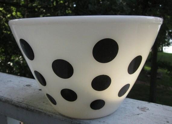 RESERVED for ELVISGRL63:  1950s Fire King Black Polka Dot Mixing Bowl