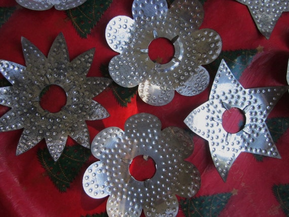 8 Vintage Pierced or Punched Tin Christmas Tree Light Reflectors