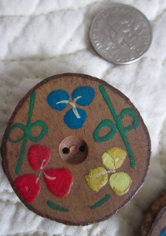 2 Vintage Hand Painted Wood Flower Buttons 1.1/2""