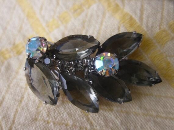 Vintage Juliana D & E Smoky Crystal Rhinestone Leaf Earrings