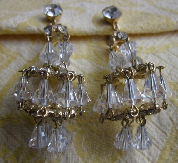 Vintage Hattie Carnegie Crystal Chandelier Dangle Wedding Cake Earring