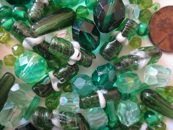 Over 100 Vintage Green Art Glass Loose Beads from Broken Necklaces