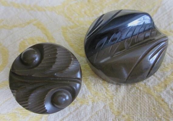 2 Carved Green/Black & Brown Bakelite Coat Buttons