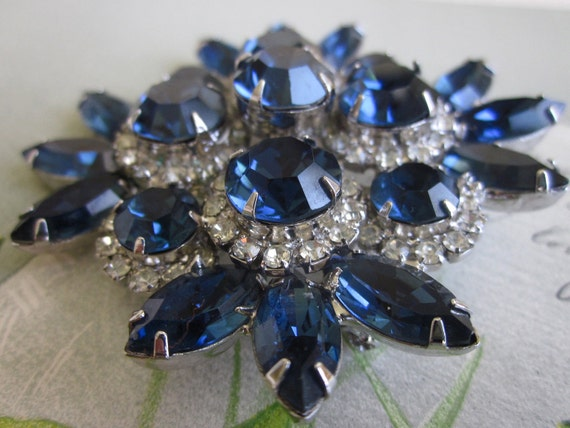 Vintage Sapphire Blue Juliana Rhinestone Double Large Brooch