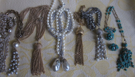 Lot of 6 Vintage 1960s Tassel Pendant Necklaces Sarah Coventry