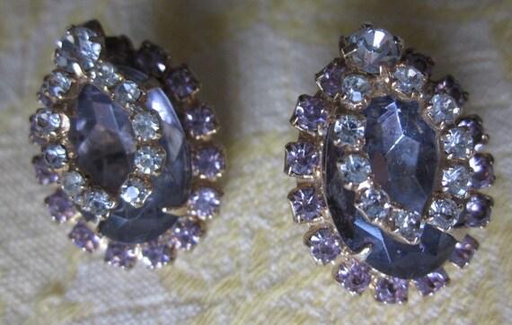 Vintage Juliana D & E Purple Large Rhinestone Earrings