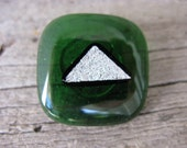 PIF Handcrafted Glass Button Green and Silver
