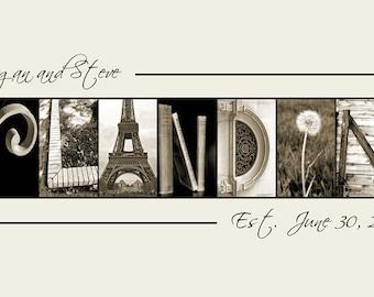 Alphabet Photography Name Frame  - Custom Wedding Gift in Sepia Photo Letters 10x20 Print (unframed)