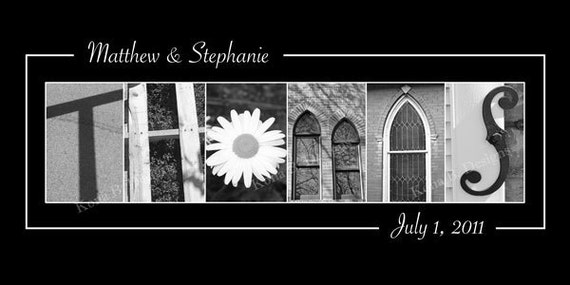 Wedding Name Frame Alphabet Photography Print  - 10x20 Unframed