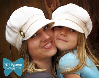 Newsboy style hat PDF SEWING pattern Adult/child combo sale-10.00
