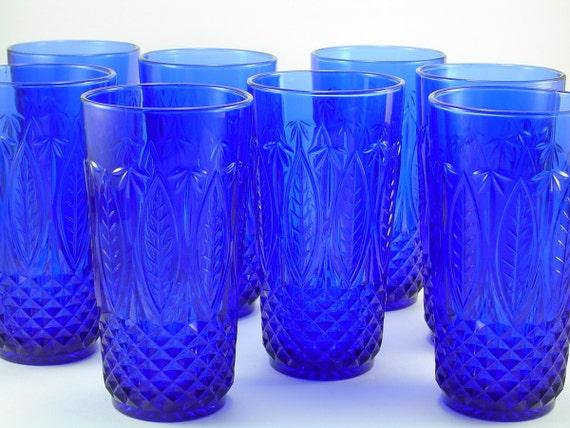 Vintage French Cobalt Blue Glass Set of 8 Tumblers