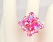 Pink Swarovski Crystal Beaded Ring