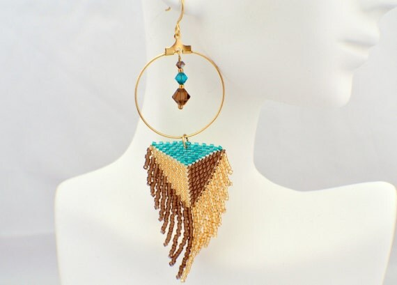Beaded Feather Hoop Earrings in Gold, Coffee and Aqua
