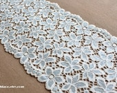 Moving Clearance---17 yds 13 inches  floral stretch lace in white with light bule flowers---5''