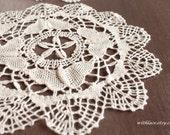 2 pcs beautiful beige butterfly bobbin lace doily/placemat---7.5''