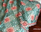 ON SALE---1 pc unused vintage sage green crocheted throw blanket/Afghan blanket---48''X56''