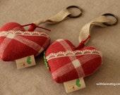 Set of 2 handmade heart key chain/key ring/bag charm/wall hanging---3''X3 1/4''