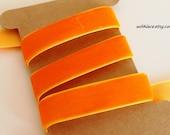 2 yds orange non-stretch velvet ribbon---5/8''