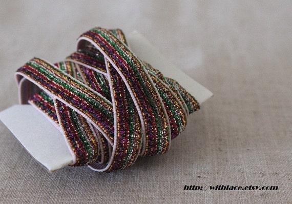 SALE---5 yds striped glitter ribbon---10mm