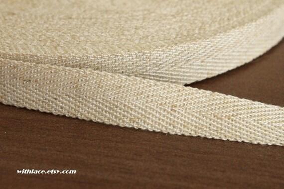 6 yds Japanese herringbone woven linen ribbon---5/8'', 16mm