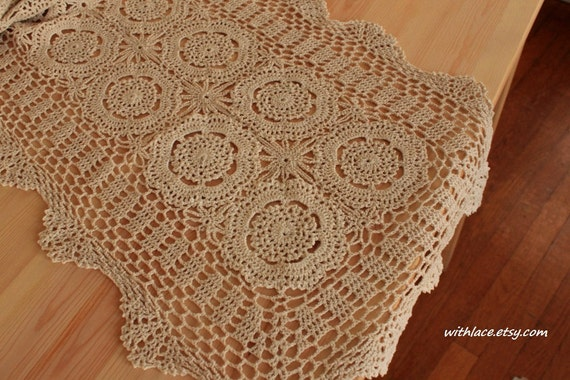 1 pc delicate hand crocheted beige table runner/table scarf ---16''X66'', 100% cotton