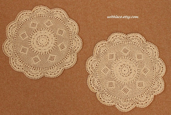 ON SALE---2 pcs delicate beige hand crocheted round doily---11''