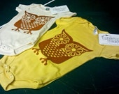 Show Me Your Hooter, Organic Onesie, Color Dijon Yellow, Size 12-18 months