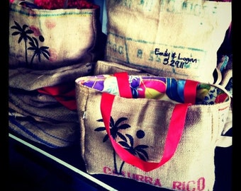 12 Custom Wedding Tote Bags - Eco-Friendly and Handmade from Recycled Coffee Sacks