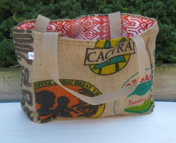 KAYA Eco-Friendly Market Tote, Handmade from a Recycled Coffee Sack
