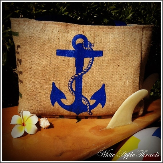 Nautical Anchor Tote Bag, Eco-Friendly and Handmade from a Recycled Coffee Sack