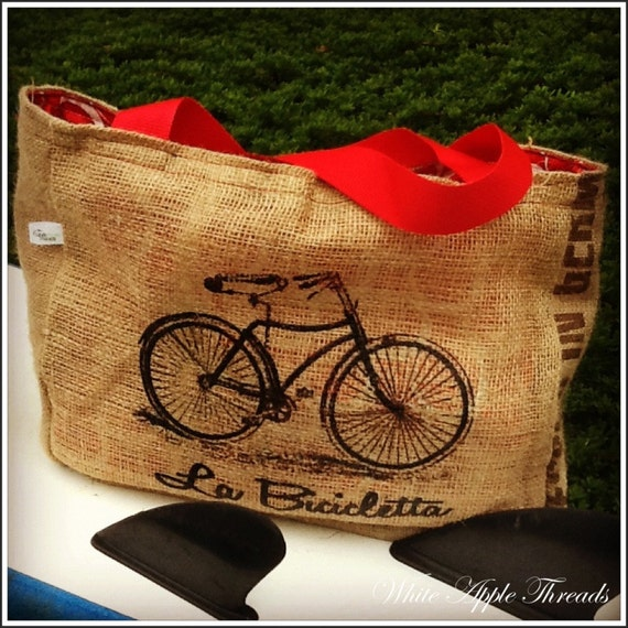 Eco-Friendly Vintage Bicycle Bike Tote bag, Handmade from a Recycled Burlap Coffee Sack