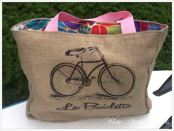 Vintage Bicycle Eco-Friendly Market Tote bag, Handmade from a Recycled Coffee Sack