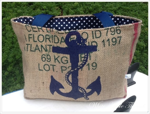 Eco-Friendly Nautical Anchor Market Tote, Handmade from a Recycled Coffee Sack
