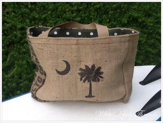 SOUTH CAROLINA PALM Eco-Friendly Market Tote, Handmade from a Recycled Coffee Sack