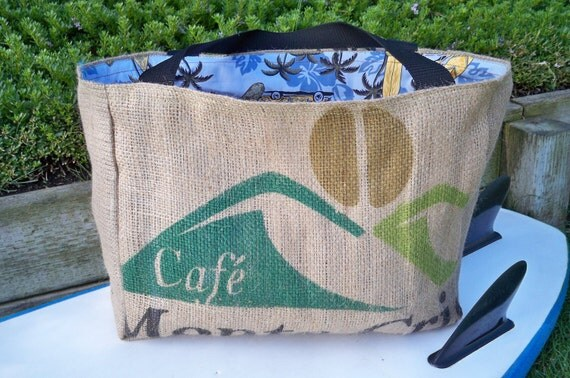 Eco-Friendly Market Tote, Handmade from a Recycled Coffee Sack