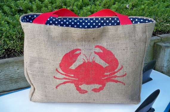 Eco-Friendly Crab Tote Bag, Handmade from a Recycled Coffee Sack