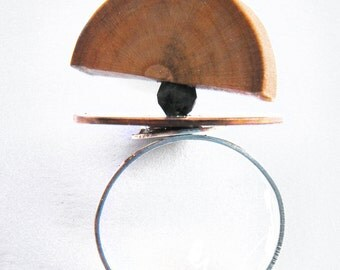 Planet on Fire, Wood and Copper Ring