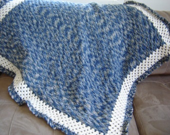 Blue and Beige Crochet Knitted Blanket