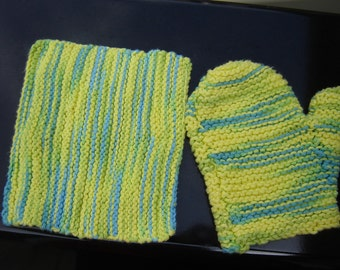 Knitted Wash Mitt and Wash Cloth Set