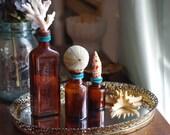 Set of 3 Vintage Sea Life Bottles with Vintage Mirorred Vanity Tray