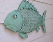 Nautical Wall Decor Metal Fish - Sea Foam Green