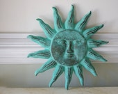 Cast Iron Sun Face Wall Decor - Green Verdigris