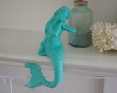 Beach Decor Cast Iron Mantel Mermaid  - PICK YOUR COLOR